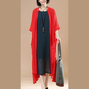 2018 summer new red casual cardigans plus size thin coats half sleeve maxi coat