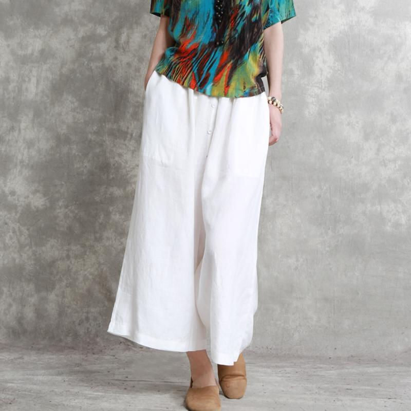 2018 summer white oversize linen pants casual slim elastic waist wide leg pants