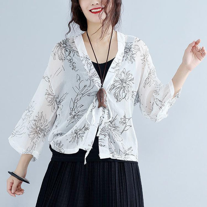 2018 summer white print silk tops plus size tie bust long sleeve coats