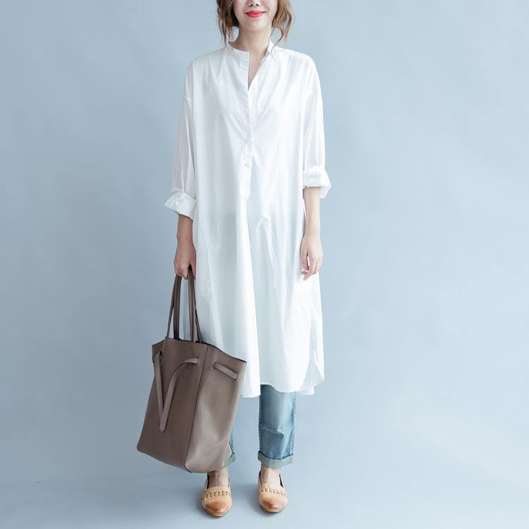 2018 white cotton maxi dress Loose fitting stand collar cotton dress top quality side open caftans