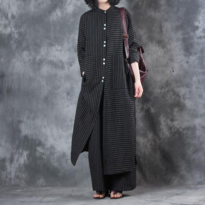 2021 Women Black Stand Collar Linen Long Shirt And Casual Wide Leg Pants