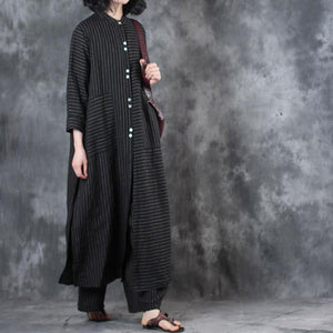 2018 women black stand collar linen long shirt and casual wide leg pants