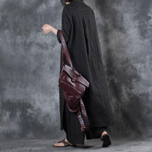 Load image into Gallery viewer, 2018 women black stand collar linen long shirt and casual wide leg pants