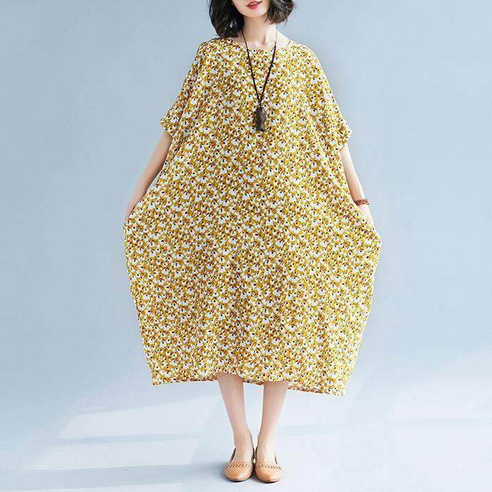 2018 yellow floral long linen dress plus size o neck gown New short sleeve gown