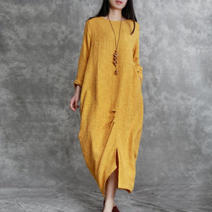 2018 yellow jacquard  long linen dresses oversized asymmetric long cotton dresses top quality front side open traveling clothing