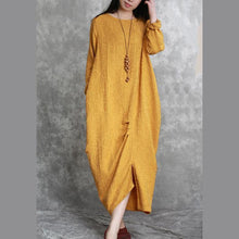 Load image into Gallery viewer, 2018 yellow jacquard  long linen dresses oversized asymmetric long cotton dresses top quality front side open traveling clothing