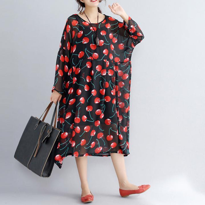 2018black prints long chiffon dresses plus size clothing two pieces long dresses and cotton sleeveless dresses