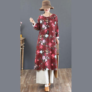 2018red prints long cotton dress plus size o neck gown top quality loose waist kaftans