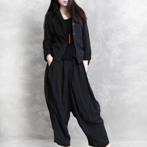 2019 autumn women linen blended casual short coats and loose harem pants