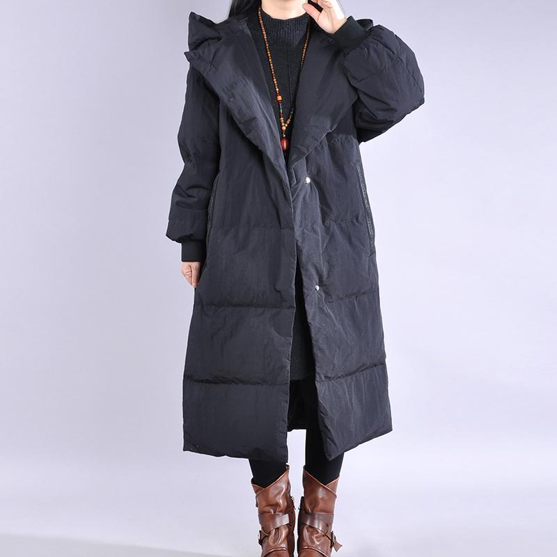 2019 black down coat winter casual hooded down jacket dark buckle Fine winter outwear