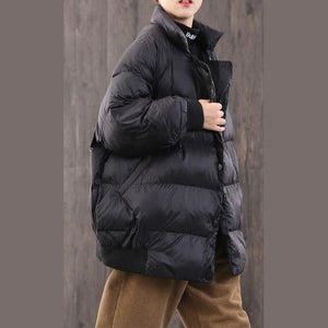 2019 black goose Down coat trendy plus size dark buckle winter jacket stand collar New Jackets