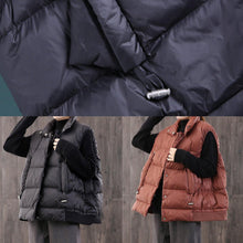 Load image into Gallery viewer, 2019 black warm winter coat oversize stand collar winter jacket sleeveless Luxury Jackets