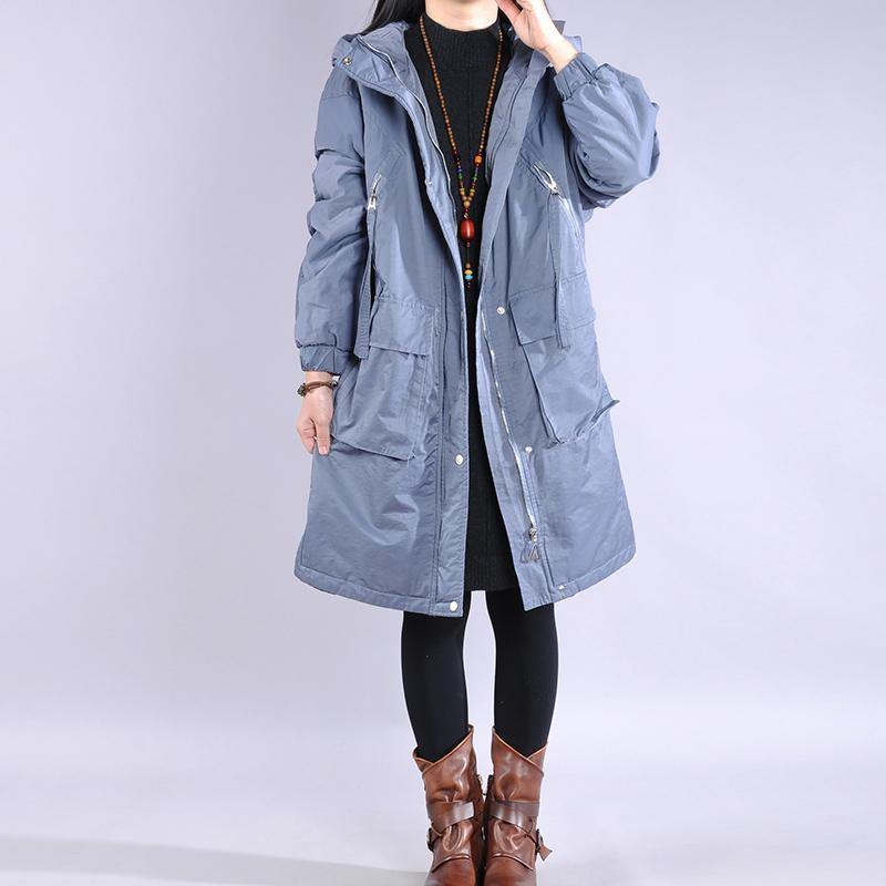 2019 blue outwear plus size clothing warm winter coat zippered hooded winter outwear