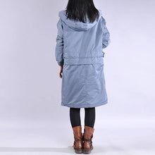 Load image into Gallery viewer, 2019 blue outwear plus size clothing warm winter coat zippered hooded winter outwear