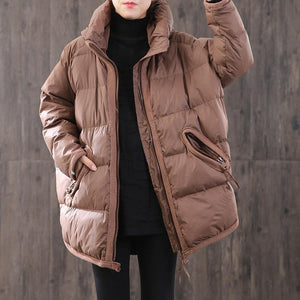 2019 chocolate down coat winter oversize zippered pockets womens parka winter Fine winter outwear
