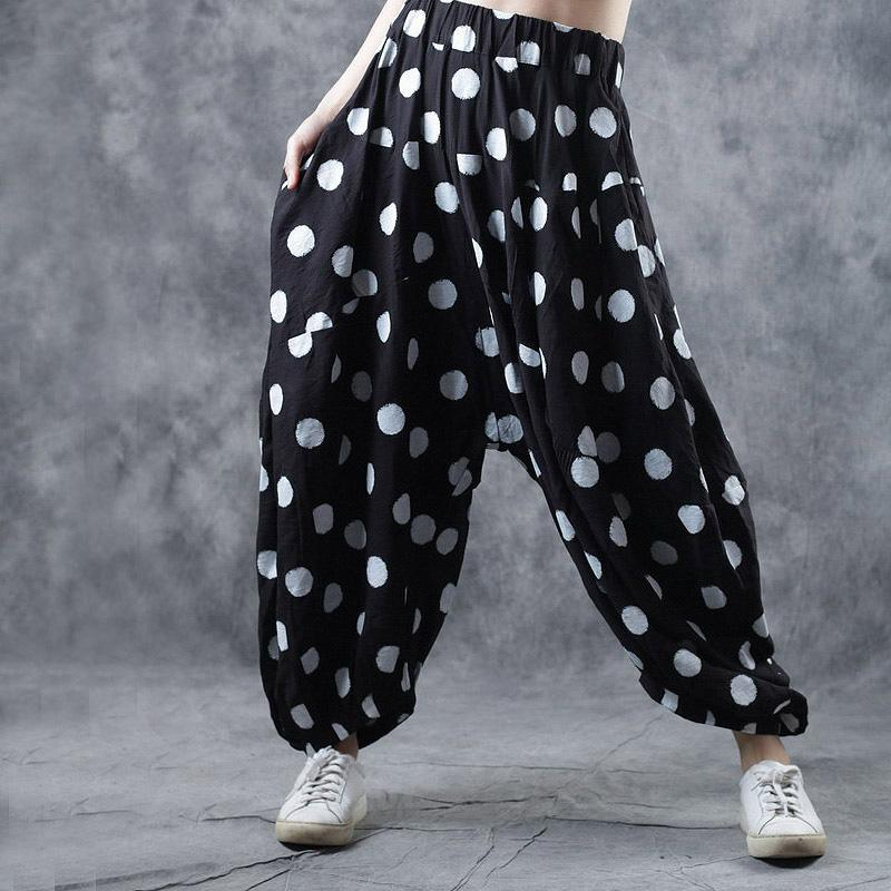 2019 fall vintage cotton casual pants loose elastic waist women trousers