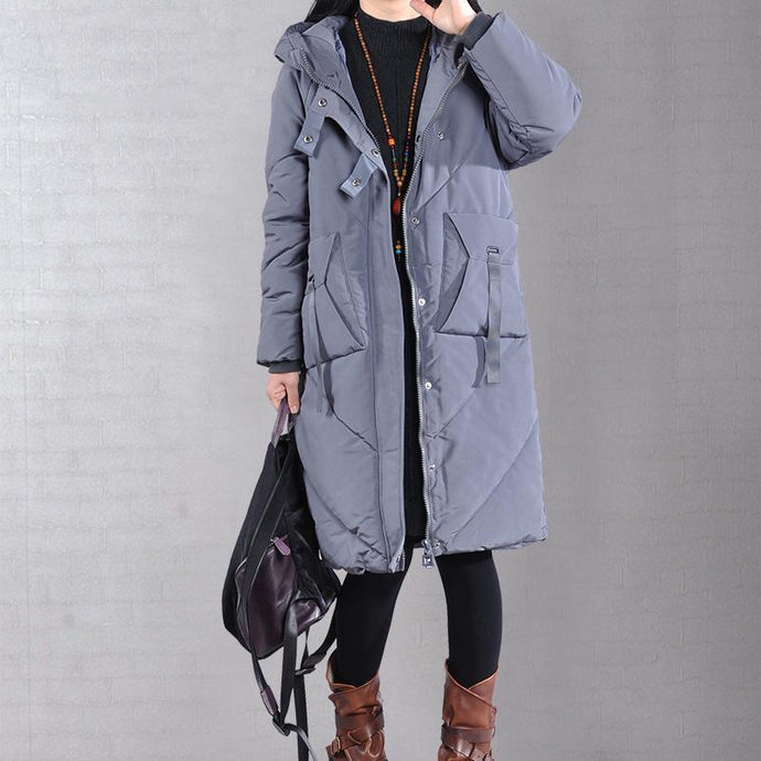 2019 gray overcoat trendy plus size warm winter coat zippered hooded winter outwear