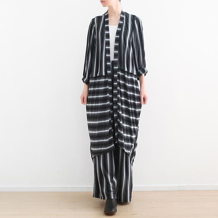 2019 gray striped cotton wrinkled shirt dress and elastic waist pants two pieces