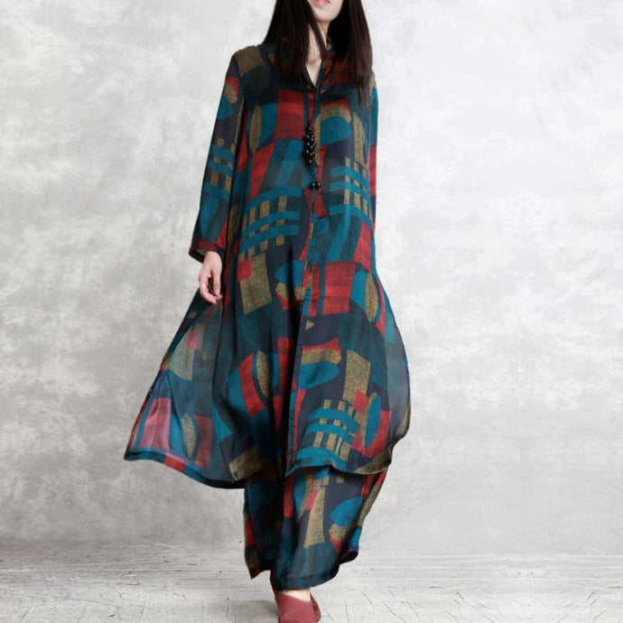 2019 green prints silk two pieces long silm shirts and wide leg pants
