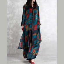 Laden Sie das Bild in den Galerie-Viewer, 2019 green prints silk two pieces long silm shirts and wide leg pants