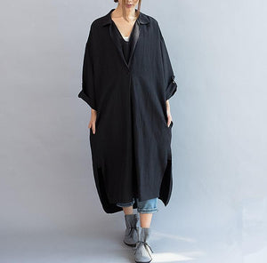 2019 new black linen casaul dress plus size women summer dress