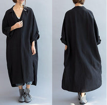 Laden Sie das Bild in den Galerie-Viewer, 2019 new black linen casaul dress plus size women summer dress