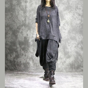 2019 new casual gray the tabbit wool pullover sweater and women elastic waist wide leg pants