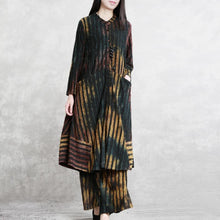 Laden Sie das Bild in den Galerie-Viewer, 2019 new twi pieces striped Jacquard cotton blended long shitrt and casual wide leg pants