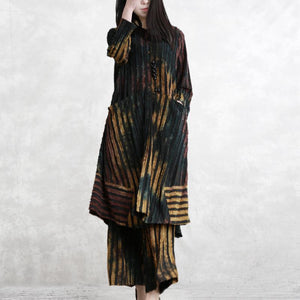 2019 new twi pieces striped Jacquard cotton blended long shitrt and casual wide leg pants