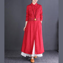 Laden Sie das Bild in den Galerie-Viewer, 2019 red Coat Women oversize long coats lapel embroidery outwear