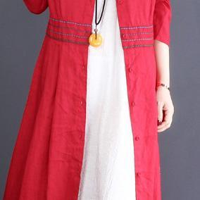 2019 red Coat Women oversize long coats lapel embroidery outwear