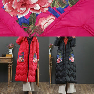 2019 red warm winter coat Loose fitting embroidery pockets down jacket hooded women Jackets