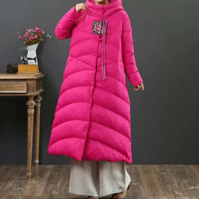 2019 rose goose Down coat casual Chinese Button snow jackets hooded Casual overcoat