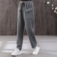 Load image into Gallery viewer, 2019 women new gray pants plus size wild cotton straight pants