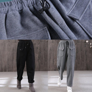 2019 women new gray pants plus size wild cotton straight pants