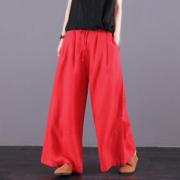 2019 women summer loose large size casual pants wide leg pants red long pants