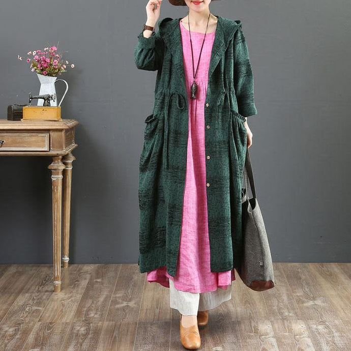 2019green hooded overcoat oversized jackets fall women coats drawstring