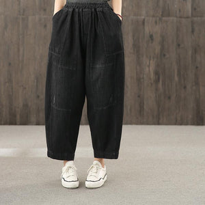 2020 retro washed denim black new trousers loose