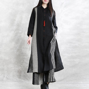 2020 spring linen stand collar suit women's long shirt was thin stripe cardigan wide leg pants