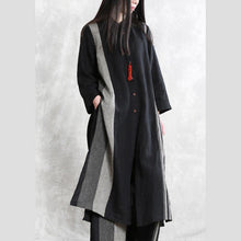 Load image into Gallery viewer, 2020 spring linen stand collar suit women's long shirt was thin stripe cardigan wide leg pants