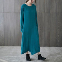 Load image into Gallery viewer, omychic plus size cotton vintage for women casual loose spring autumn dress