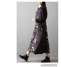 Load image into Gallery viewer, long sleeve plus size velvet vintage floral for women casual loose autumn winter dress