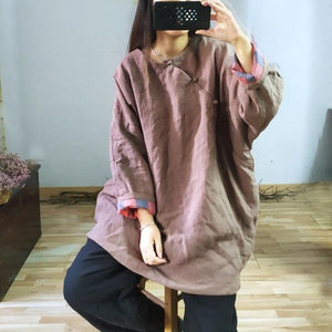Women Chinese Style Linen Parkas Button Solid Color Warm Coats