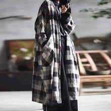 Load image into Gallery viewer, Women Cotton Linen Trench Vintage Coats Pockets Plaid Long Sleeve Casual Women Cloths V-neck Trench