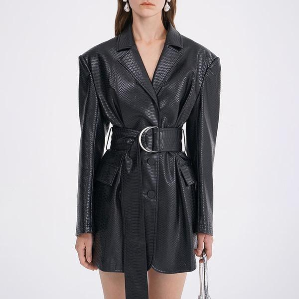 Belt Faux Leather Women Winter Tide Fashion New Style Turn Down Collar Long Sleeve Pocket Single Breasted Elegant
