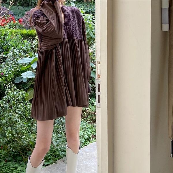 Patchwork Draped Casual Dress Women Tide Fashion New Korean Dresses