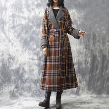 Load image into Gallery viewer, Omychic Winter Woolen Coat Plaid Patchwork Loose Long Coat Outerwear Ladies Fashion Plaid Coat Overcoat Female Topcoat 2019