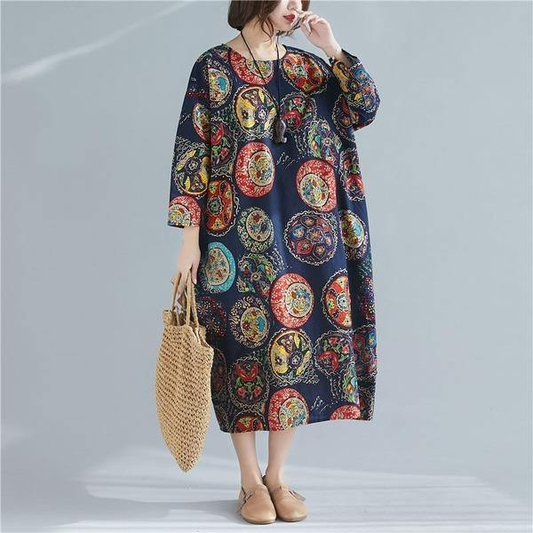 Oversized Women Cotton Linen Casual Dress O-neck Loose Female Long Dresses