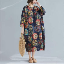 Load image into Gallery viewer, Oversized Women Cotton Linen Casual Dress O-neck Loose Female Long Dresses