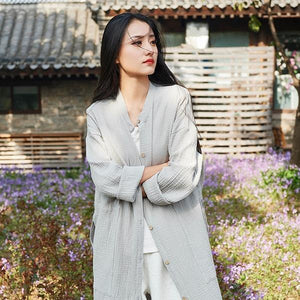 New Vintage Trench Cotton Linen Coats Button Women Cloths Pockets Chinese Style Solid Color Women Trench